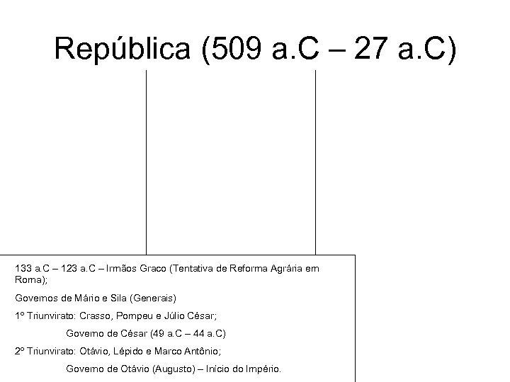 República (509 a. C – 27 a. C) 133 a. C – 123 a.
