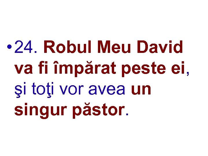 • 24. Robul Meu David va fi împărat peste ei, şi toţi vor