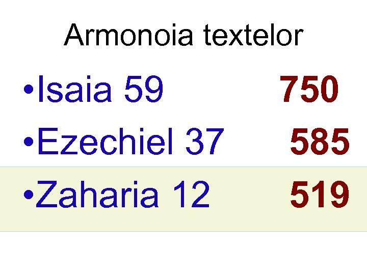 Armonoia textelor • Isaia 59 • Ezechiel 37 • Zaharia 12 750 585 519