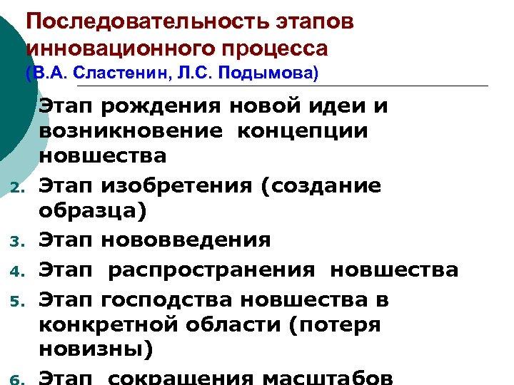 Последовательность этапов инновационного процесса (В. А. Сластенин, Л. С. Подымова) 1. 2. 3. 4.