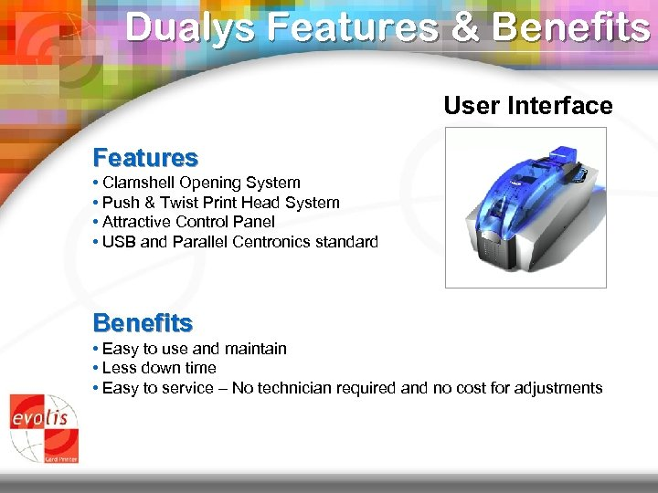 Dualys Features & Benefits User Interface Features • Clamshell Opening System • Push &