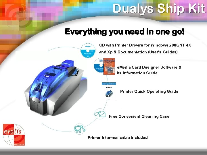 Dualys Ship Kit Everything you need in one go! CD with Printer Drivers for
