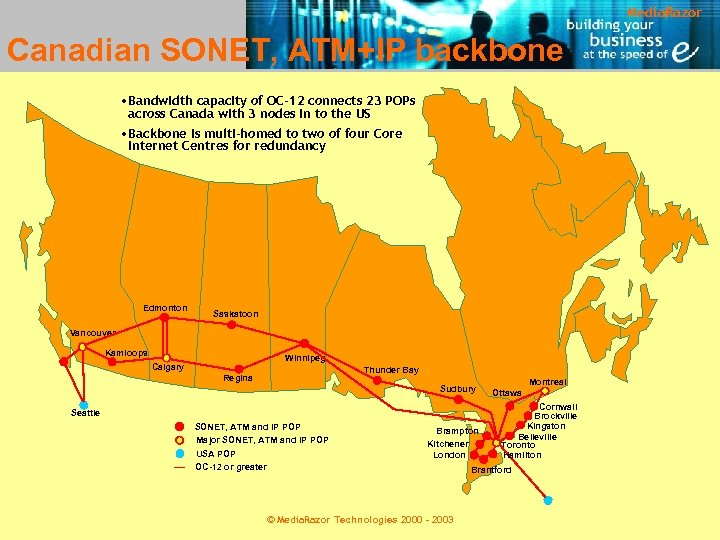Media. Razor Canadian SONET, ATM+IP backbone • Bandwidth capacity of OC-12 connects 23 POPs