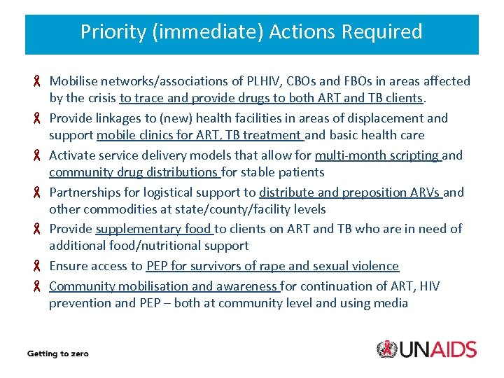 Priority (immediate) Actions Required Mobilise networks/associations of PLHIV, CBOs and FBOs in areas affected