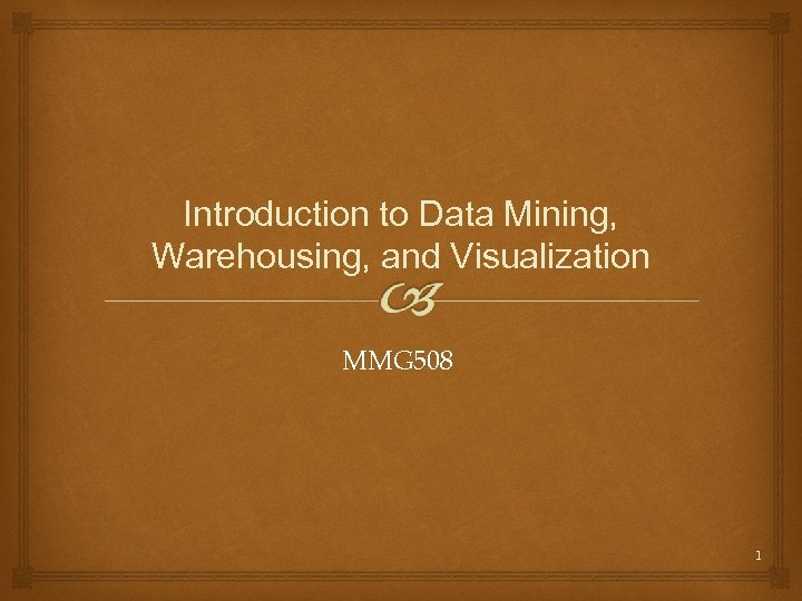 Introduction to Data Mining, Warehousing, and Visualization MMG 508 1