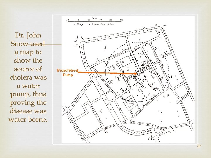 Dr. John Snow used a map to show the source of cholera was a