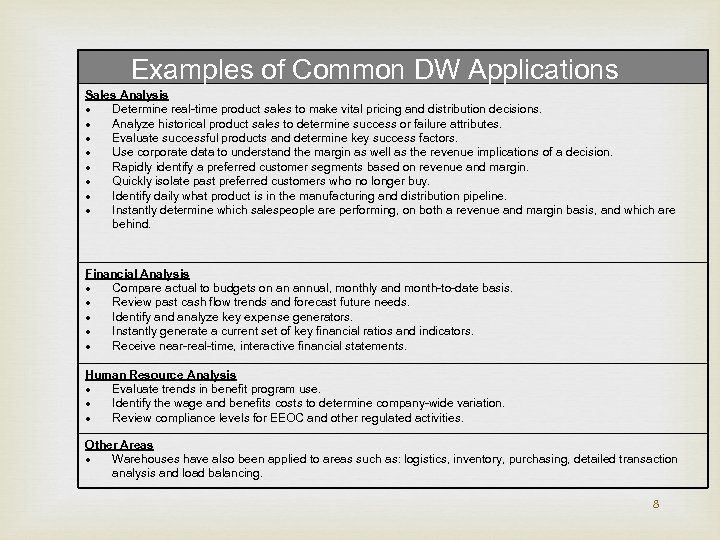 Examples of Common DW Applications Sales Analysis Determine real-time product sales to make vital
