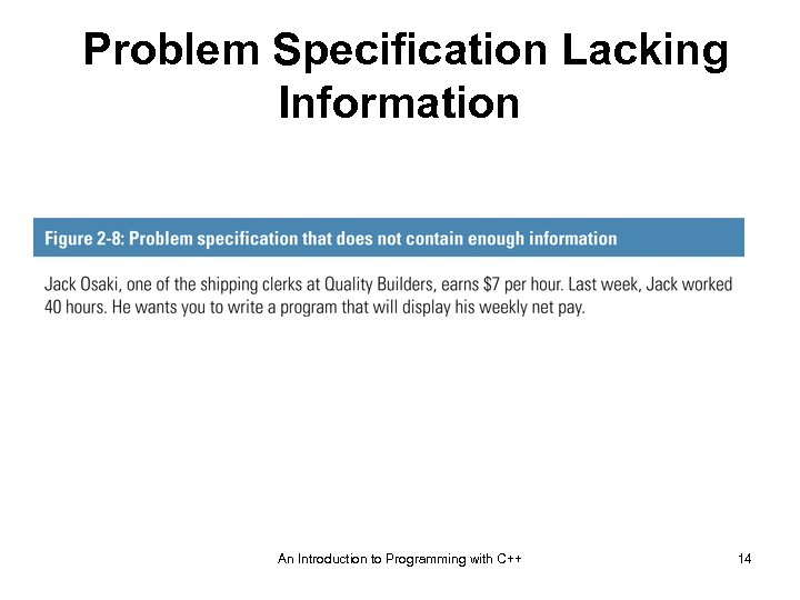 Problem Specification Lacking Information An Introduction to Programming with C++ 14