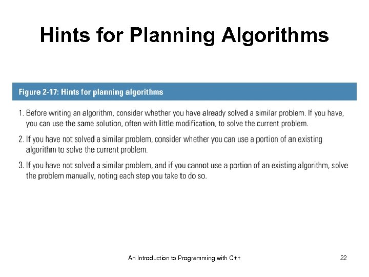 Hints for Planning Algorithms An Introduction to Programming with C++ 22