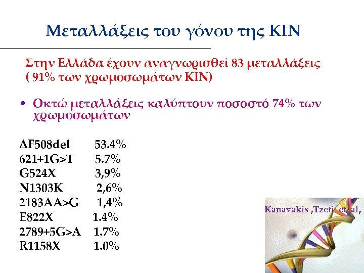 Μεταλλάξεις του γόνου της ΚΙΝ Στην Ελλάδα έχουν αναγνωρισθεί 83 μεταλλάξεις ( 91%