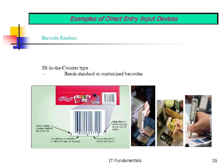 Examples of Direct Entry Input Devices Barcode Readers: Sit-in-the-Counter type Reads standard or customised