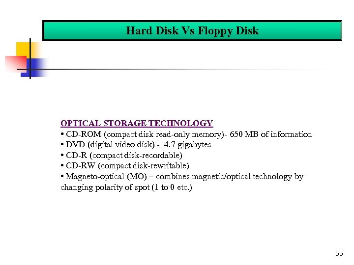 Hard Disk Vs Floppy Disk OPTICAL STORAGE TECHNOLOGY • CD-ROM (compact disk read-only memory)-