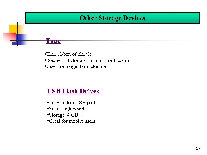 Other Storage Devices Tape • Thin ribbon of plastic • Sequential storage – mainly