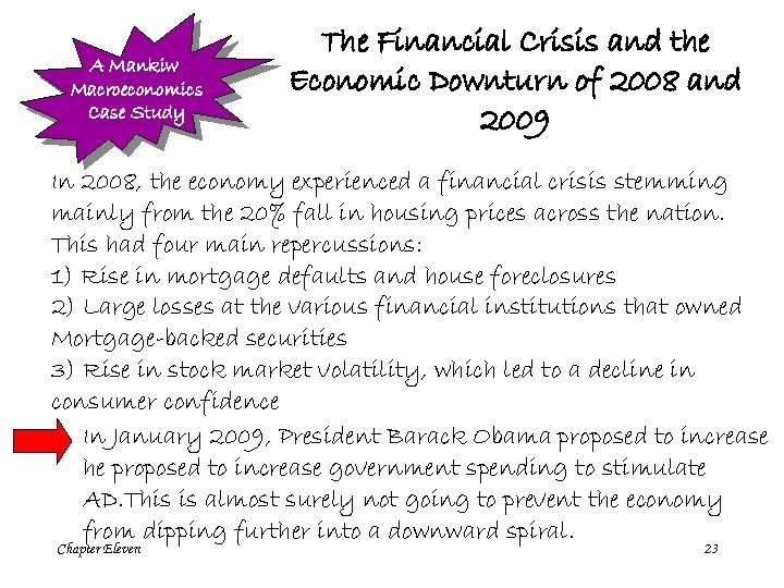 A Mankiw Macroeconomics Case Study The Financial Crisis and the Economic Downturn of 2008