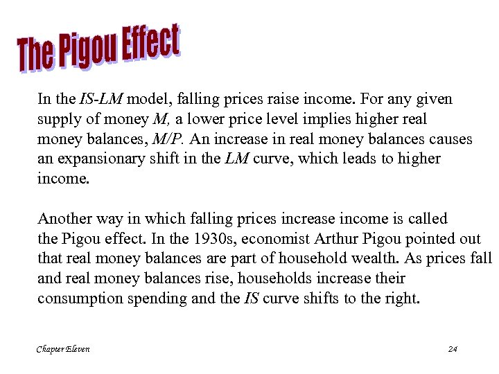In the IS-LM model, falling prices raise income. For any given supply of money
