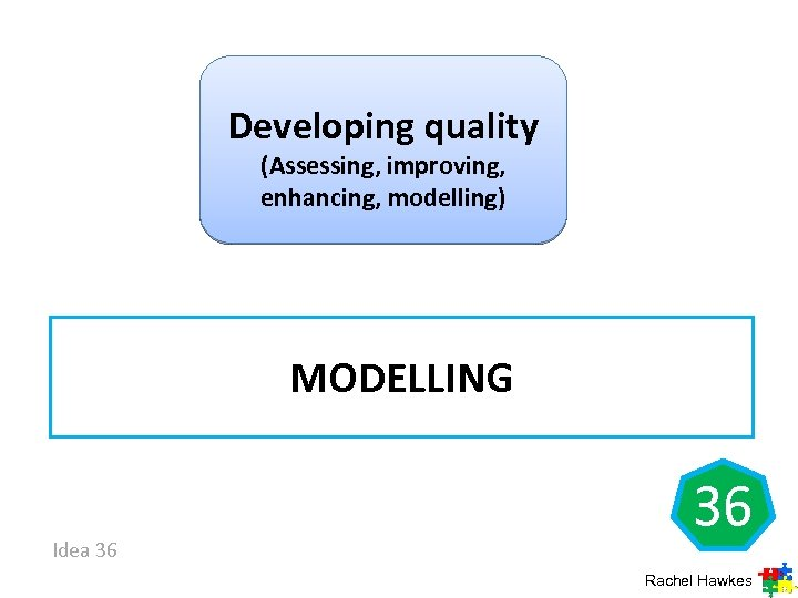 Developing quality (Assessing, improving, enhancing, modelling) MODELLING Idea 36 36 Rachel Hawkes