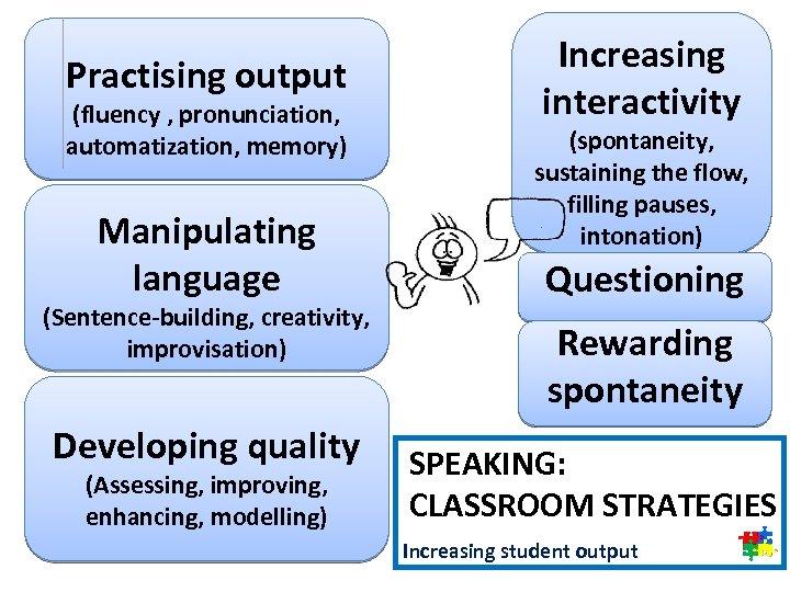 Practising output (fluency , pronunciation, automatization, memory) Manipulating language (Sentence-building, creativity, improvisation) Developing quality
