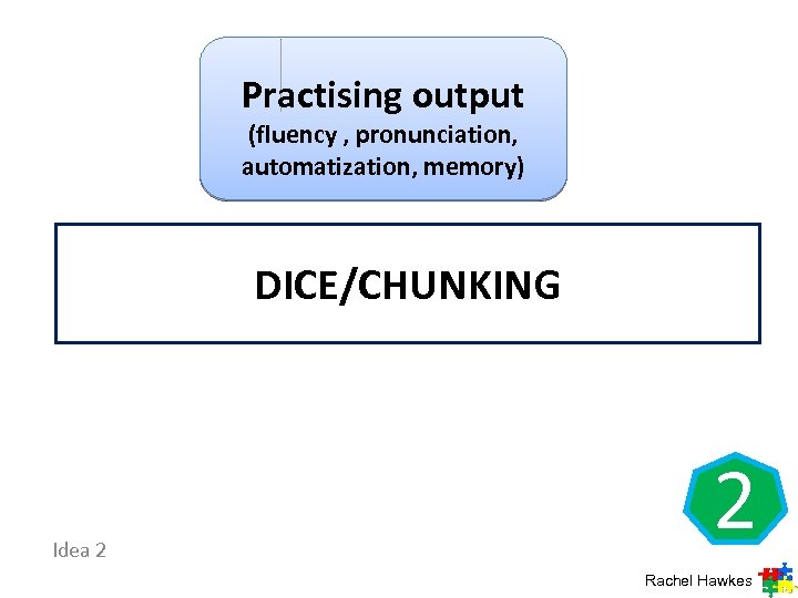 Practising output (fluency , pronunciation, automatization, memory) DICE/CHUNKING Idea 2 2 Rachel Hawkes