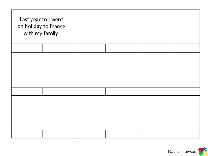 Last year to I went on holiday to France with my family. Rachel Hawkes