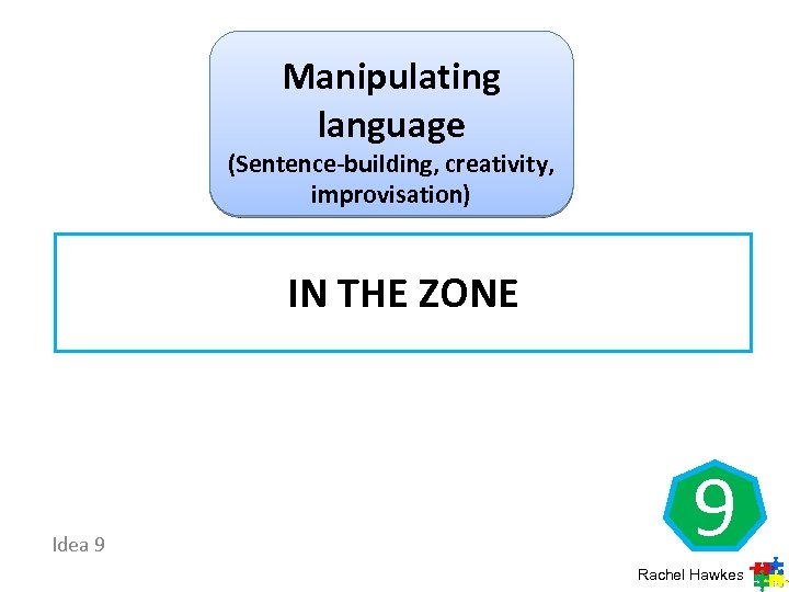 Manipulating language (Sentence-building, creativity, improvisation) IN THE ZONE Idea 9 9 Rachel Hawkes