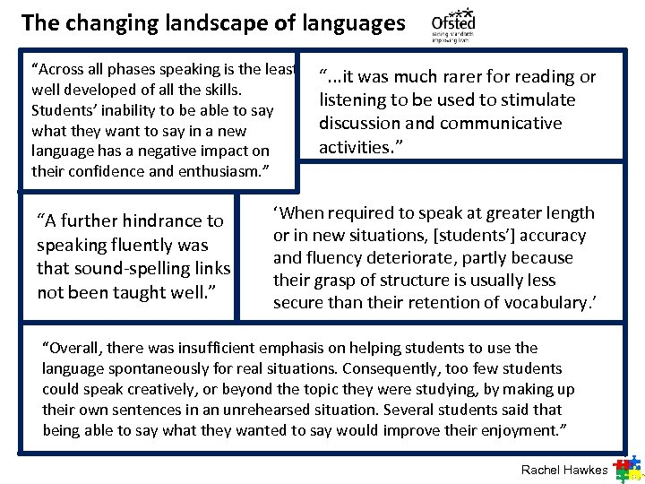 "The changing landscape of languages ""Across all phases speaking is the least well developed"