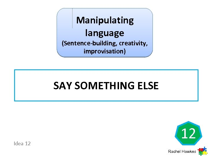Manipulating language (Sentence-building, creativity, improvisation) SAY SOMETHING ELSE Idea 12 12 Rachel Hawkes