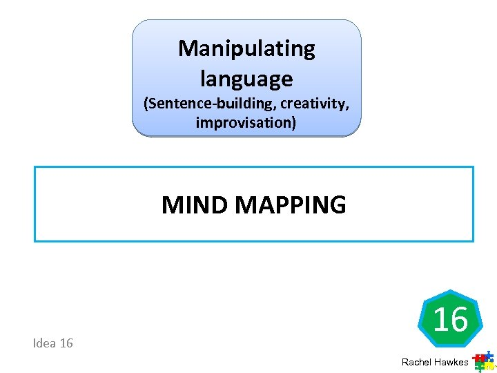 Manipulating language (Sentence-building, creativity, improvisation) MIND MAPPING Idea 16 16 Rachel Hawkes