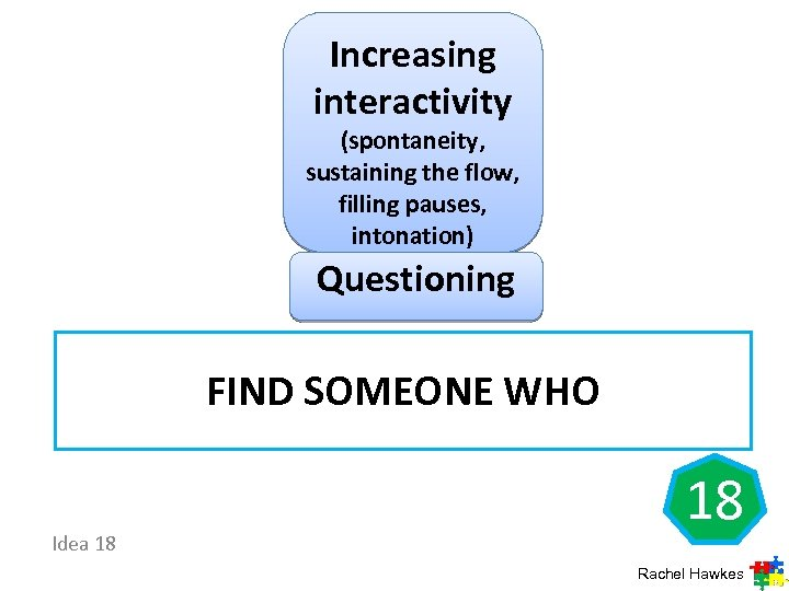Increasing interactivity (spontaneity, sustaining the flow, filling pauses, intonation) Questioning FIND SOMEONE WHO Idea