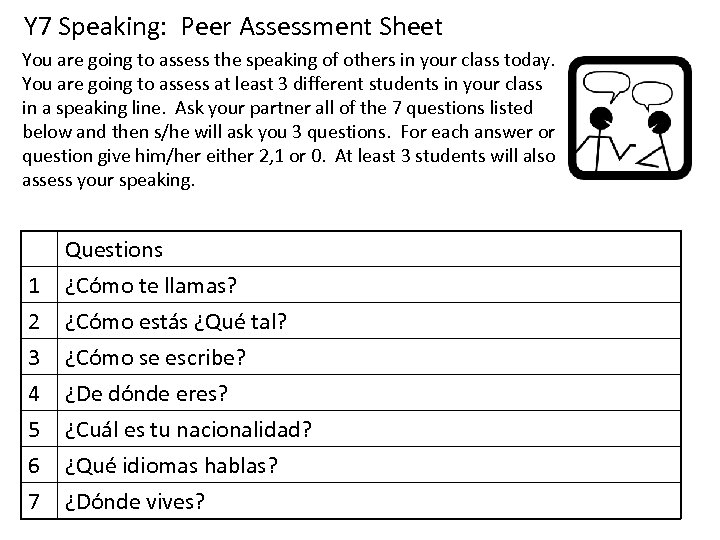Y 7 Speaking: Peer Assessment Sheet You are going to assess the speaking of