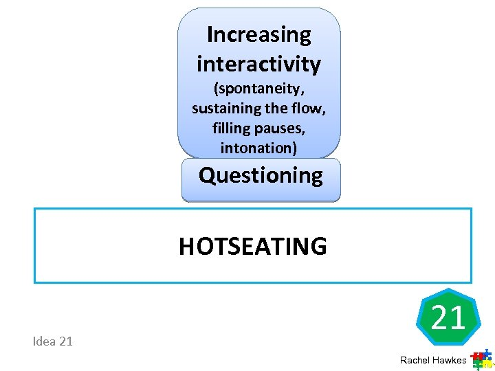 Increasing interactivity (spontaneity, sustaining the flow, filling pauses, intonation) Questioning HOTSEATING Idea 21 21