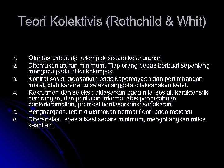 Teori Kolektivis (Rothchild & Whit) 1. 2. 3. 4. 5. 6. Otoritas terkait dg