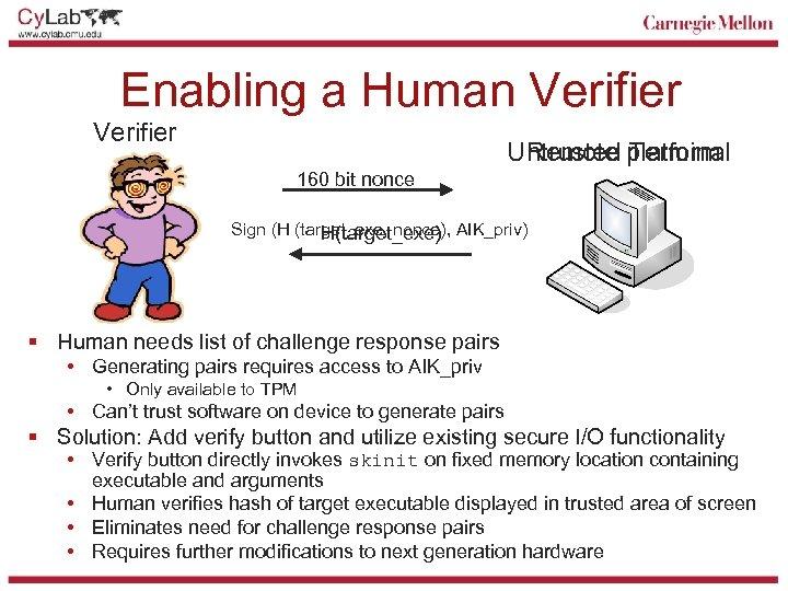 Enabling a Human Verifier Untrusted platform Remote Terminal 160 bit nonce Sign (H (target_exe,