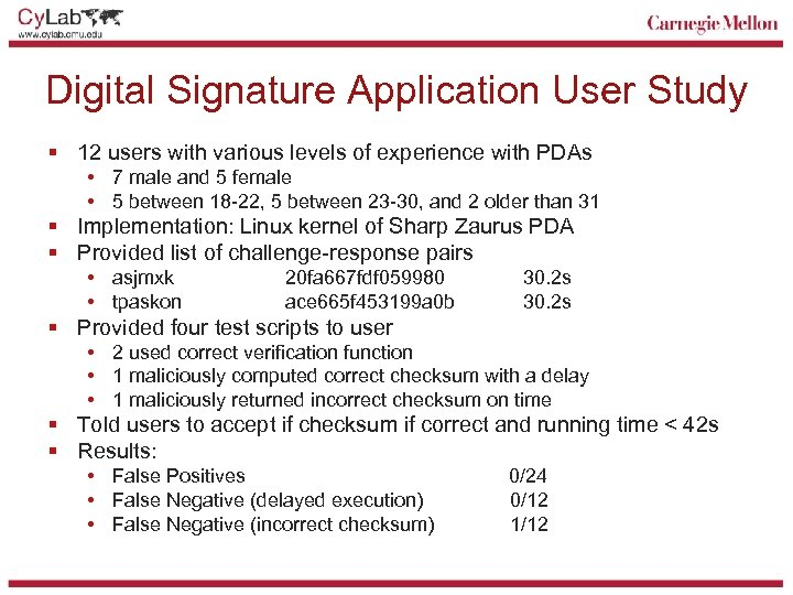 Digital Signature Application User Study § 12 users with various levels of experience with