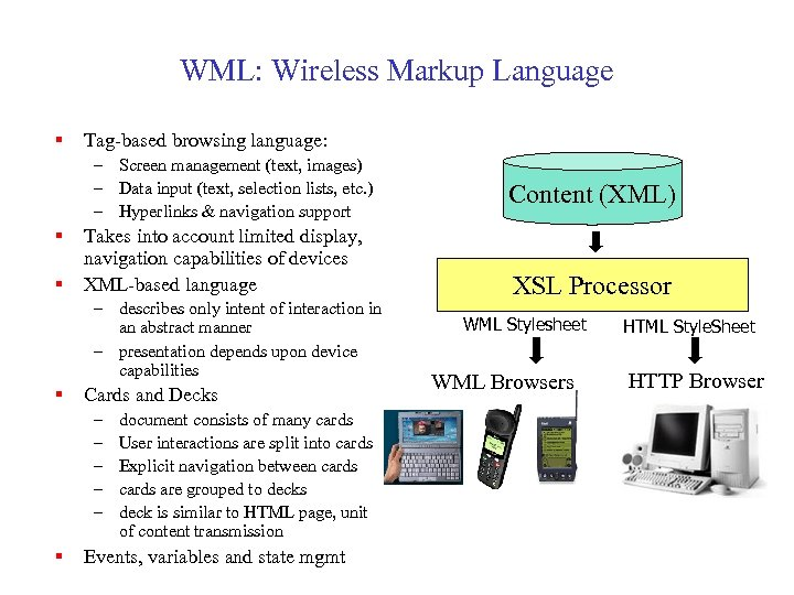WML: Wireless Markup Language § Tag-based browsing language: – Screen management (text, images) –