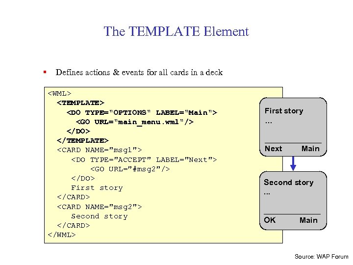 The TEMPLATE Element § Defines actions & events for all cards in a deck