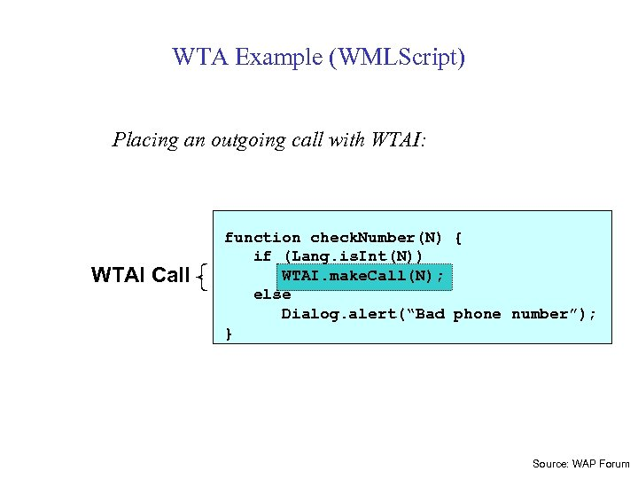 WTA Example (WMLScript) Placing an outgoing call with WTAI: WTAI Call function check. Number(N)