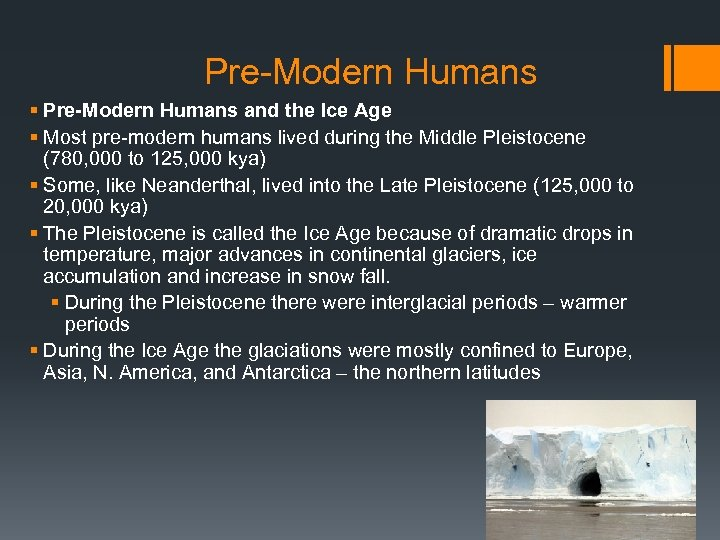 Pre-Modern Humans § Pre-Modern Humans and the Ice Age § Most pre-modern humans lived
