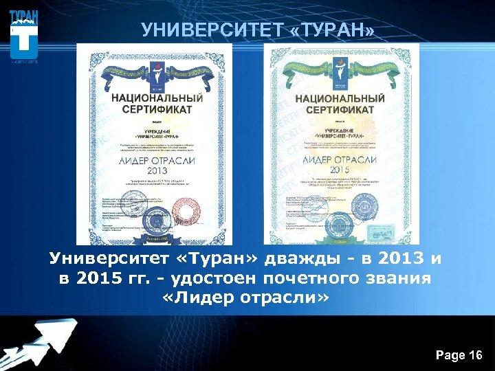 УНИВЕРСИТЕТ «ТУРАН» Университет «Туран» дважды - в 2013 и в 2015 гг. -