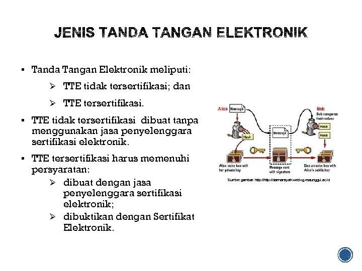 § Tanda Tangan Elektronik meliputi: Ø TTE tidak tersertifikasi; dan Ø TTE tersertifikasi. §
