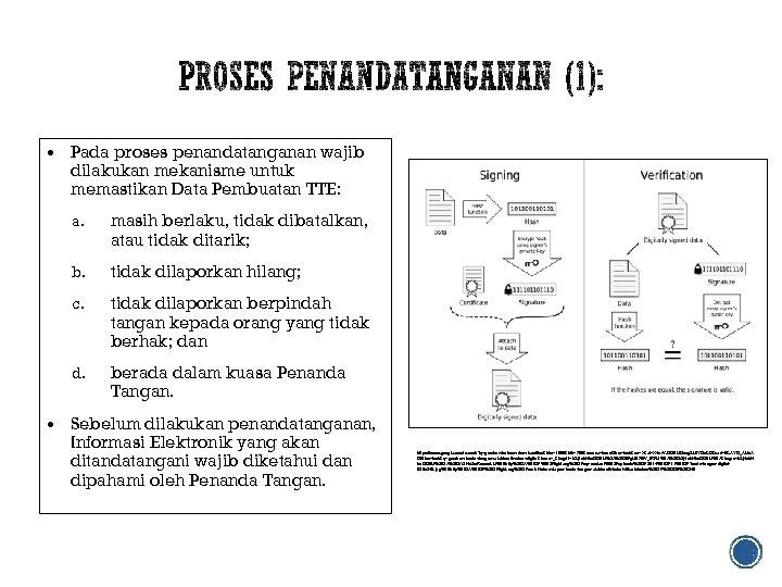 Pada proses penandatanganan wajib dilakukan mekanisme untuk memastikan Data Pembuatan TTE: a. masih