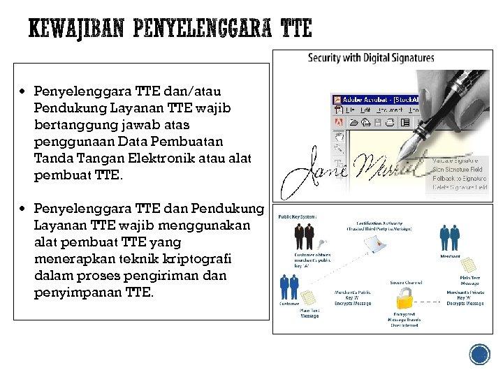 Penyelenggara TTE dan/atau Pendukung Layanan TTE wajib bertanggung jawab atas penggunaan Data Pembuatan