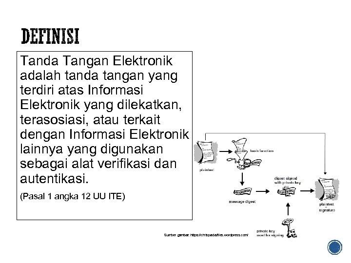 Tanda Tangan Elektronik adalah tanda tangan yang terdiri atas Informasi Elektronik yang dilekatkan, terasosiasi,