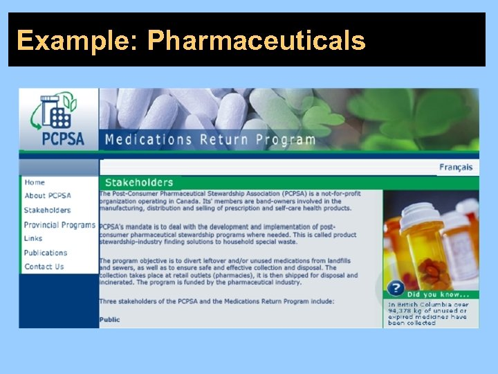 Example: Pharmaceuticals