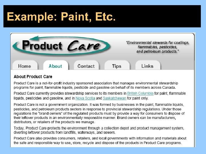Example: Paint, Etc.