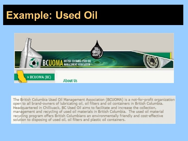 Example: Used Oil
