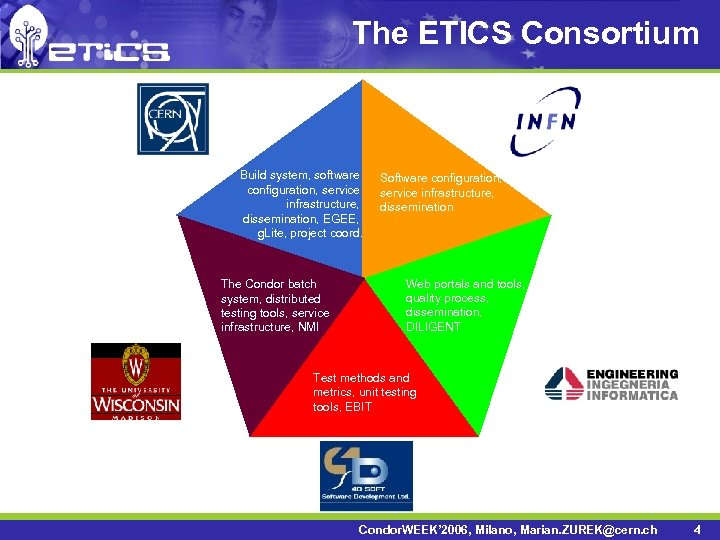 The ETICS Consortium Build system, software configuration, service infrastructure, dissemination, EGEE, g. Lite, project