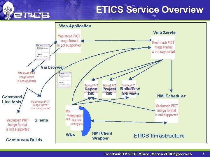 ETICS Service Overview Web Application Web Service Via browser Report DB Command. Line tools