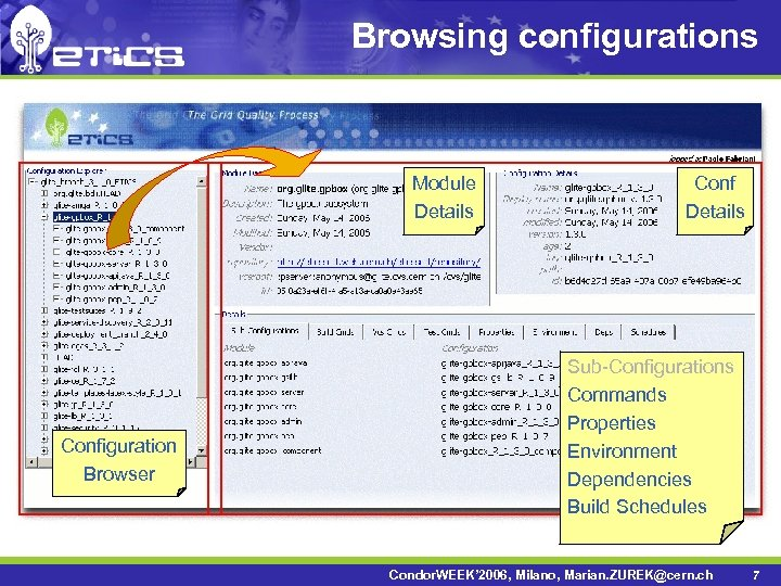 Browsing configurations Module Details Configuration Browser Conf Details Sub-Configurations Commands Properties Environment Dependencies Build