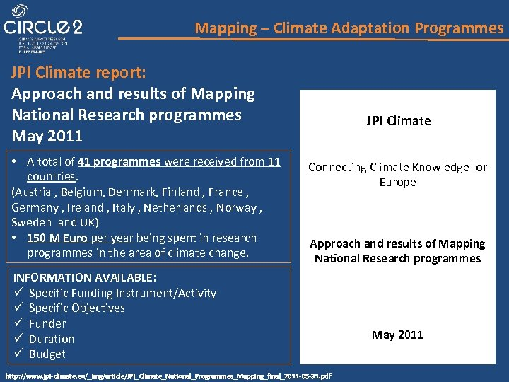 Mapping – Climate Adaptation Programmes JPI Climate report: Approach and results of Mapping National