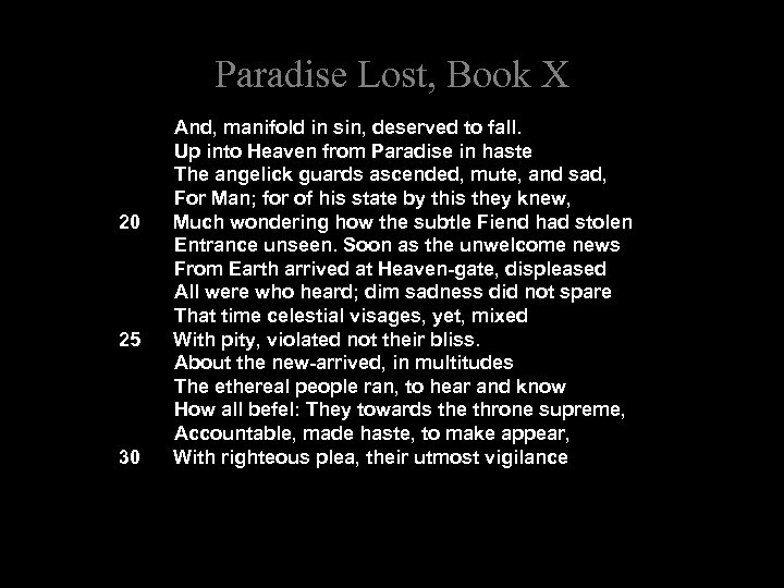 Paradise Lost, Book X And, manifold in sin, deserved to fall. Up into Heaven